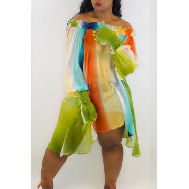 Lovely Sweet Striped Green Chiffon Mini Dress