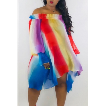 Lovely Sweet Striped Blue Chiffon Mini Dress