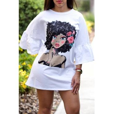 Mini Abito Bianco T-shirt Stampato Adorabile Ritratto Dolce