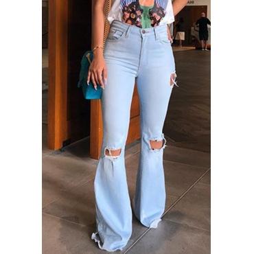 Lovely Casual Broken Holes Baby Blue Denim Jeans