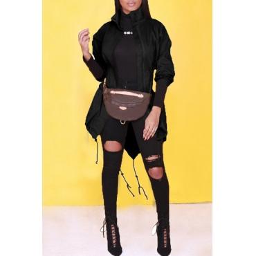 Lovely Casual  Drawstring Black Blending  Jacket