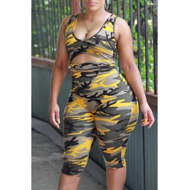 Lovely Casual Camouflage Printed Yellow One-piece Rompers