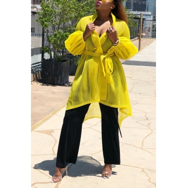 Lovely Casual Long Sleeves Lace-up Yellow Coat