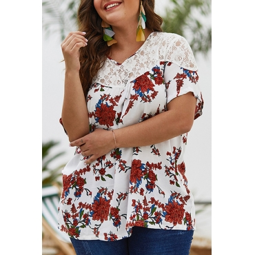 Lovely Plus-size Floral Printed White Blouses