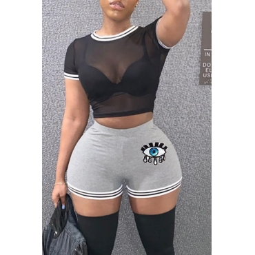 Lovely Sexy Perspective Grey Two-piece Shorts Set