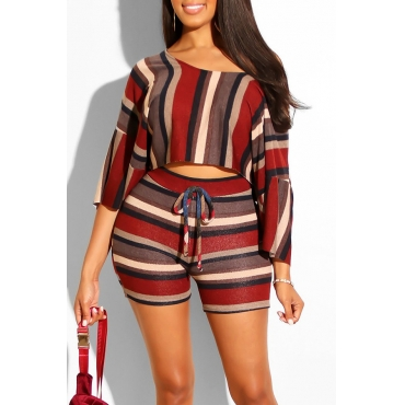 Lovely Striped Half Sleeve Two-piece Shorts Set