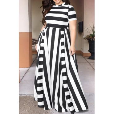 Lovely Black Striped Floor Length Dress(With Elastic)
