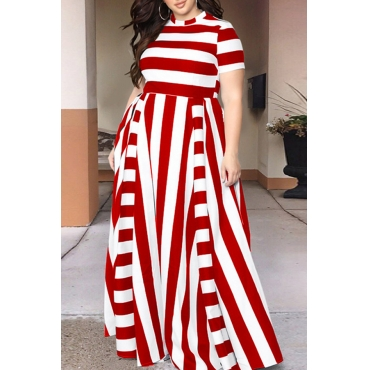 Lovely Red Striped Floor Length Dress(With Elastic)