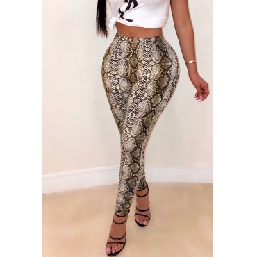 Lovely Snakeskin Pattern Printed Khaki Pants(With Elastic)