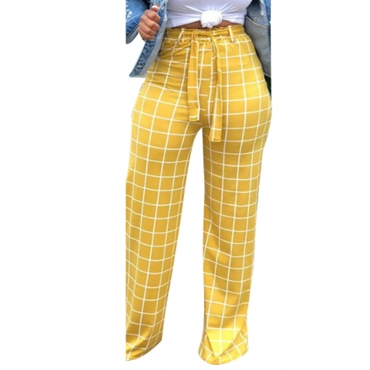 Lovely Yellow High Waist Plaid Pants(With Elastic)