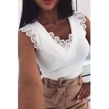 Lovely Stylish  Lacce Trim Patchwork White Tank Top