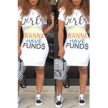 Lovely Casual Letters Printed White Knee Length Dress(With Elastic)