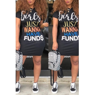 Lovely Casual Letters Printed Black Knee Length Dress(With Elastic)