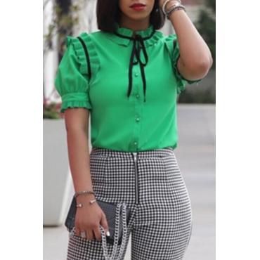 Lovely Stylish Ruffle Design Green Shirts