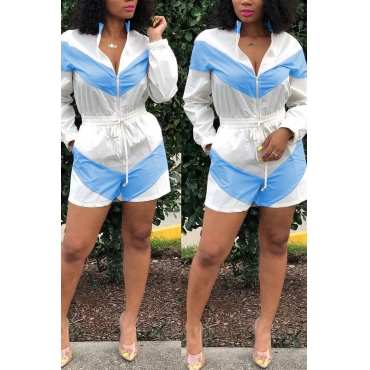 Lovely Casual Zipper Design Blue Rompers(With Elastic)