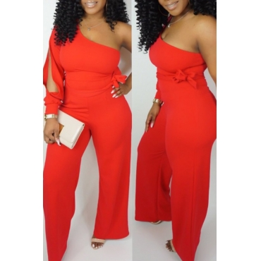 Lovely Casual One Shoulder Asymmetrical Red Jumpsuit(Elastic)