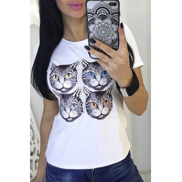 Lovely Casual Cat Printed White T-shirt