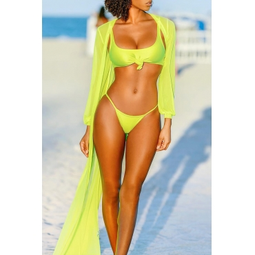 Lovely Yellow Two-piece Swimwear(With Shawl)