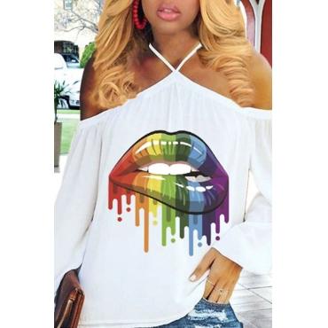 Lovely Work Lip Printed White Blending T-shirt