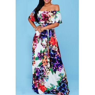 Lovely Sweet Printed Multicolor Floor Length Dress
