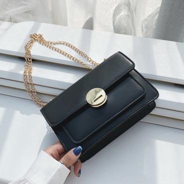Lovely Trendy Chain Black Messenger Bag
