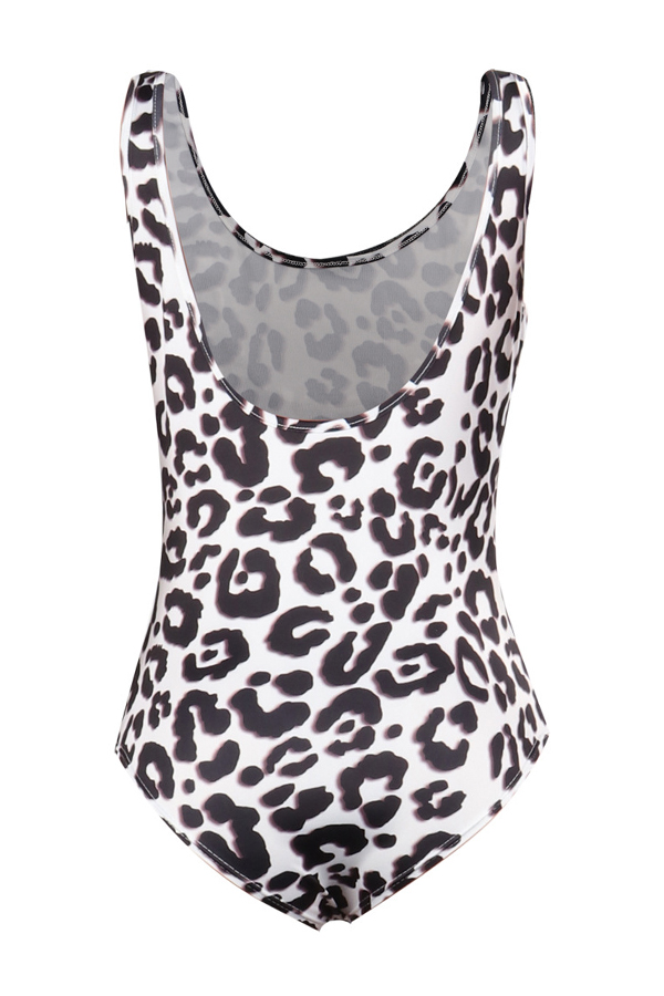 Lovely Sexy Leopard Printed Skinny Brown One-piece Swimwear