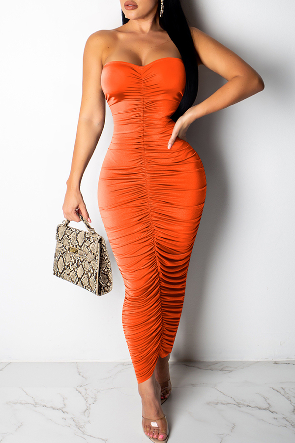 Lovely Sexy Ruffle Slim Orange Ankle Length Dress