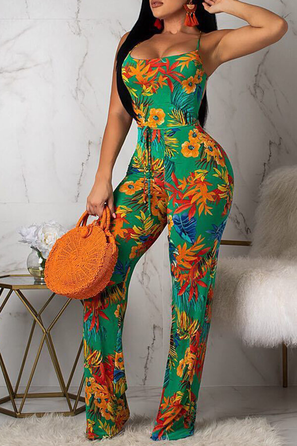 Lovely Bohemian Printed Backless Green One-piece Jumpsuit(Nonelastic)