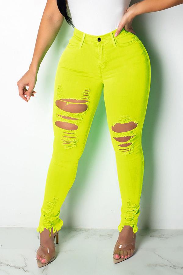 Lovely Casual High Waist Broken Holes Yellow Jeans