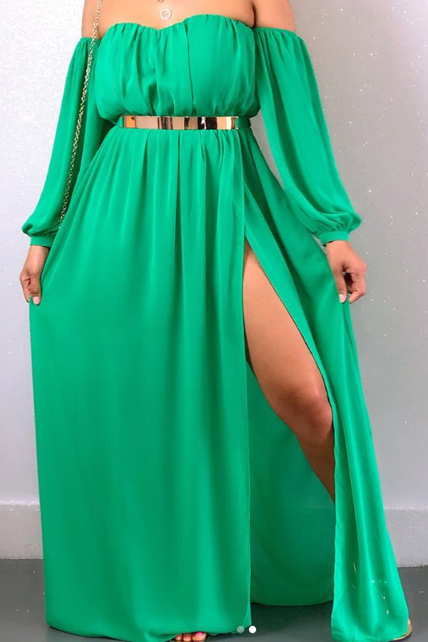 Lovely Off The Shoulder Side Split Green Ankle Length A Line Dress(With Belt)