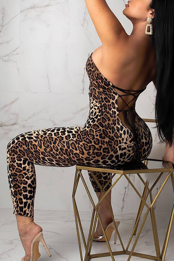 Lovely Sexy Leopard Printed Backless One-piece Jumpsuit(With Elastic)