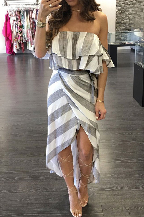 Lovely Off The Shoulder Striped Asymmetrical Light Grey Ankle Length Dress(With Elastic)