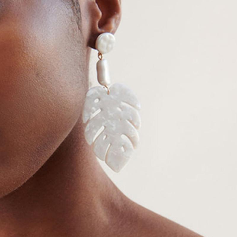 Lovely Fashion Lea-shape White Alloy Earring