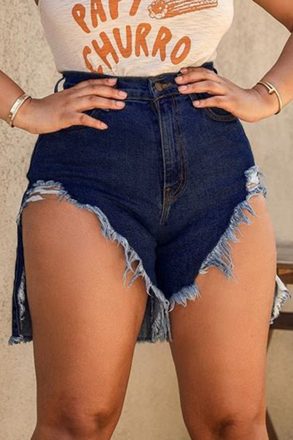 Lovely Casual Asymmetrical Dark Blue Shorts