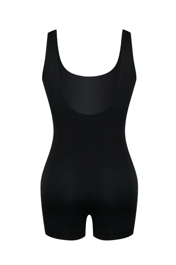 Lovely Casual Black One-piece Romper(With Elastic)
