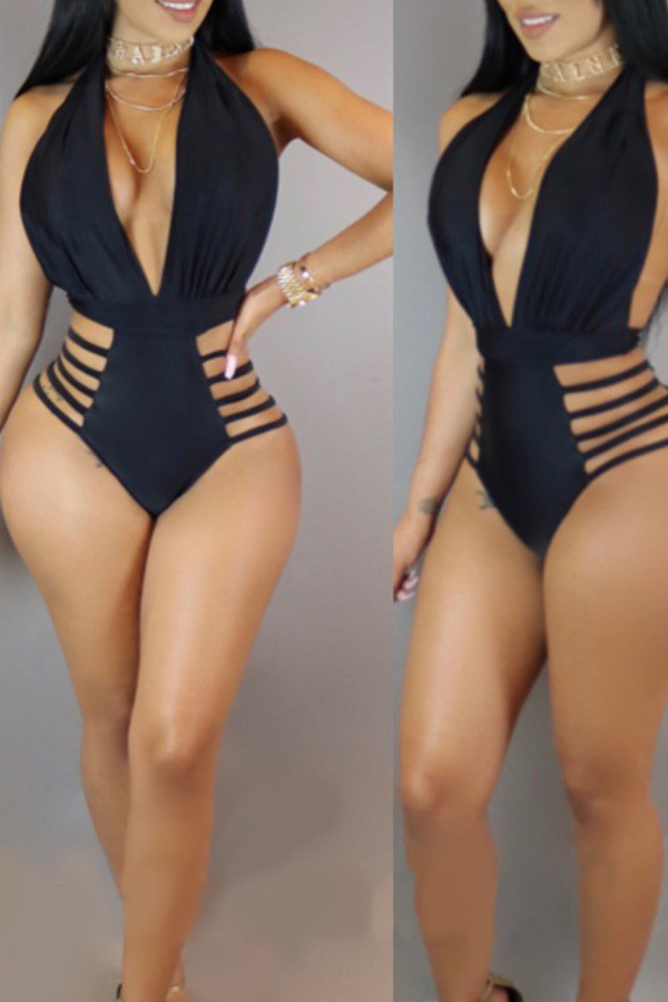 Lovely Deep V Neck Hollow-out Black One-piece Swimwear