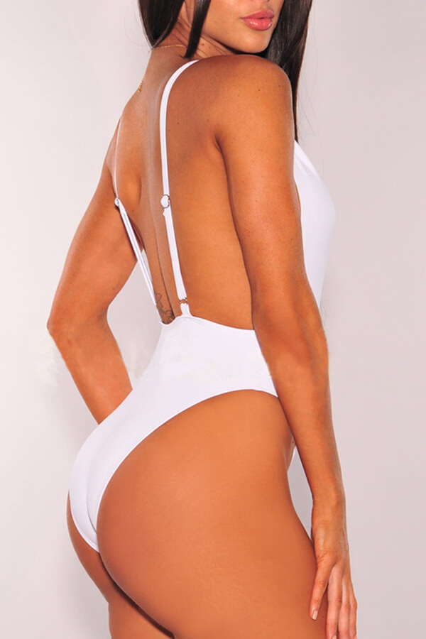 Lovely Deep V Neck Backless White One-piece Swimwear
