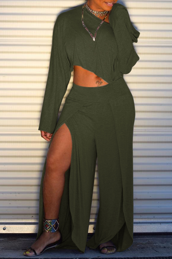 Lovely Trendy Side High Slit Green Two-piece Pants Set