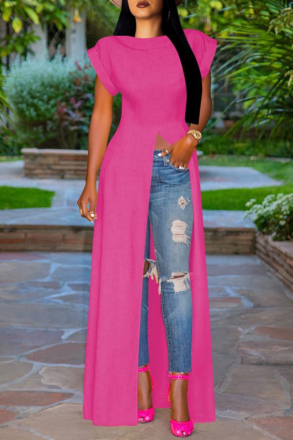 Lovely Stylish High Split Rose Red Blouse