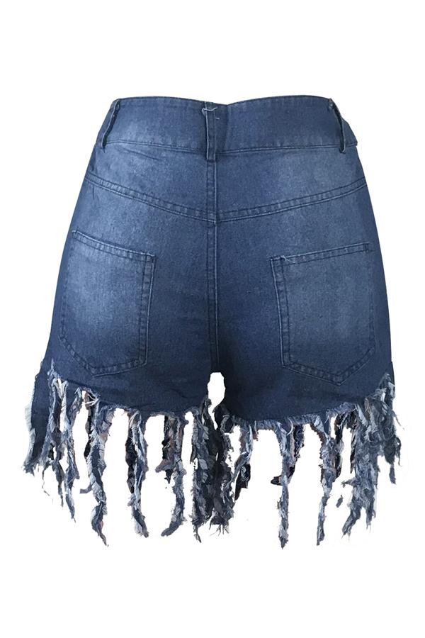 Bei Jeans Blu Di Disegno Della Nappa Casuale