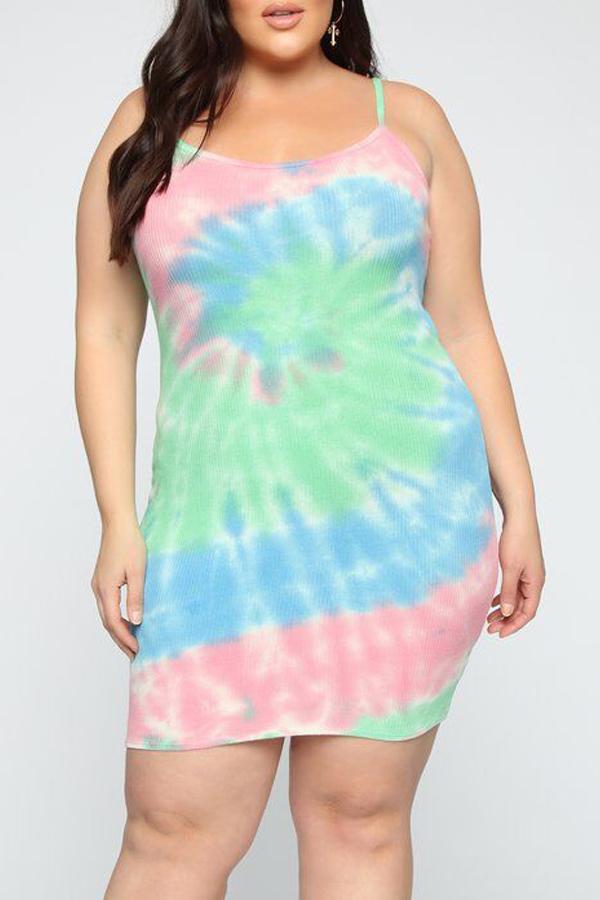 Lovely Women's Tie-dye Multicolor Dress