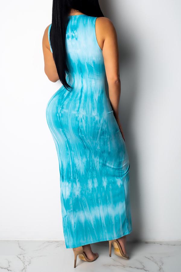 Lovely Women's Side Split Light Blue Ankle Length