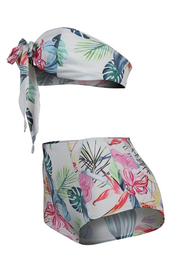 Lovely Printed High Waist Two-piece Swimwear