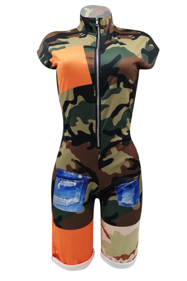 Lovely Casual Camouflage Printed Patchwork Army Green One-piece Romper