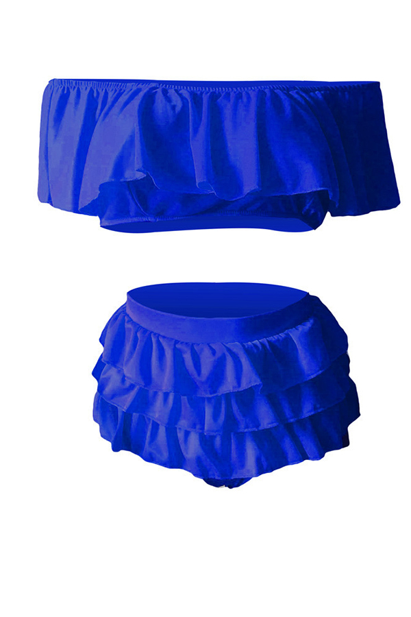 Lovely Sexy Cascading Ruffle Blue Two-piece Swimwear