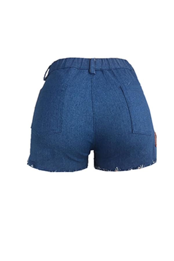 Lovely Stylish Sequin Decoration Blue Denim Shorts