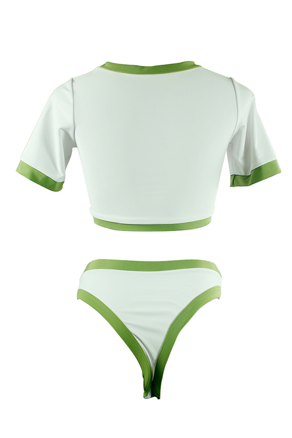 Lovely O Neck Patchwork Army Green Tankinis
