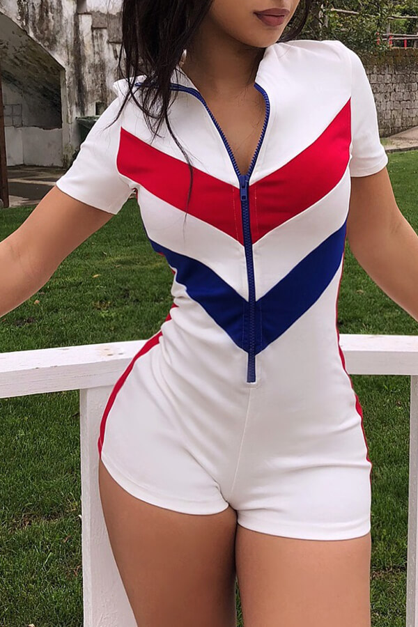 Lovely Casual Zipper Design Patchwork White One-piece Romper