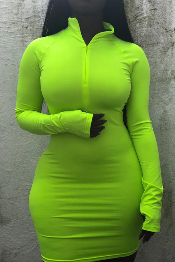 Lovely Casual Mandarin Collar Green Mini Dress