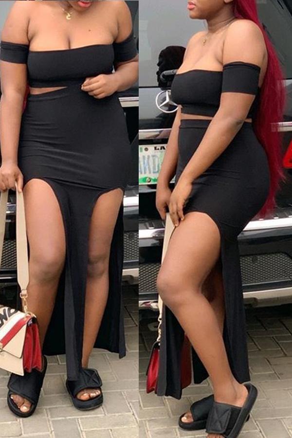 Lovely Women's Off The Shoulder High Split Black Two-piece Skirt Set